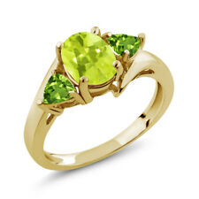 1.62 Ct Oval Yellow Lemon Quartz Green Peridot 14K Yellow Gold Ring