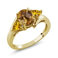1.55 Ct Oval Checkerboard Champagne Quartz Yellow Citrine 14K Yellow Gold Ring