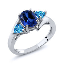 2.16 Ct Oval Blue Simulated Sapphire Swiss Blue Topaz 925 Sterling Silver Ring