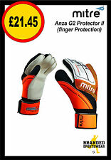 Mitre Anza G2 Protector II Goalkeeper/GK Gloves White/Black/Orange Mens/Adults