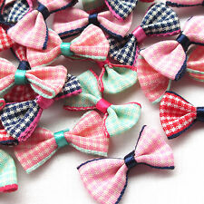 10/50/100/500PCS Grid Ribbon Flowers Bows Appliques Wedding Decor Lots