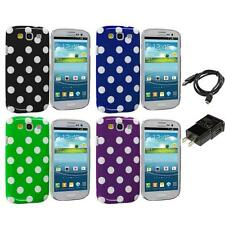 Polka Dot Hard Rubberized Case Cover for Samsung Galaxy S3 S III Charger