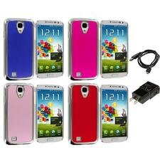 Brushed Aluminum Chrome Metal Luxury Case for Samsung Galaxy S4 Charger