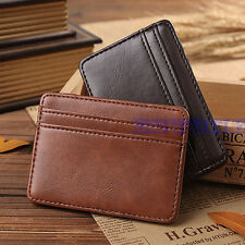 Mens Mini Faux Leather Magic Money Clip Slim Wallet ID Credit Card Holder Case