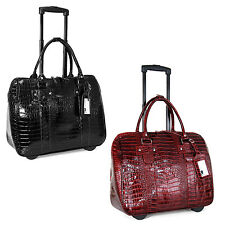 "Cabrelli Crocodile Patent Rolling 15"" Laptop Case Womens Bag Wheeled Briefcase"