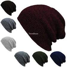 NEW Unisex Womens Mens Knit Baggy Beanie Hat Winter Warm Oversized Ski Cap SH