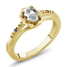 0.51 Ct Oval White Topaz Purple Amethyst 18K Yellow Gold Plated Silver Ring