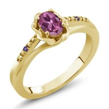 0.51 Ct Oval Pink Tourmaline Purple Amethyst 18K Yellow Gold Plated Silver Ring
