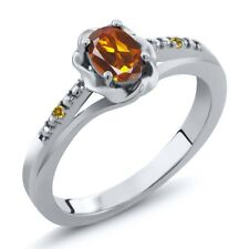 0.42 Ct Oval Orange Madeira Citrine Simulated Citrine 925 Sterling Silver Ring
