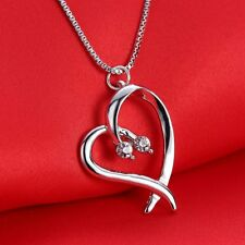 Fashion Women Rhinestone Crystal Heart Pendant Necklace Jewellery Brithday Gifts