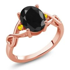 2.61 Ct Oval Black Sapphire Yellow Sapphire 18K Rose Gold Plated Silver Ring