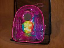 Hair Care Set Comb Mirror Brush Hair Clips Hair ties Purple or Pink Flower Oval