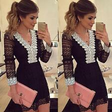 Womens Party Bodycon Dress Ladies Lace Evening Cocktail Dress UK Size 6-14 Gift0