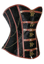 Steampunk Gothic Black Brocade Brown faux leather & buckles corset IN STOCK