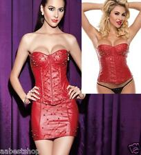 Sexy Spiked Studs Faux Leather Corset Skirt Set Goth RED -S M L XL 2X