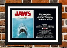 Framed Jaws Movie Poster A4 / A3 Size In Black / White Frame (Version-3)