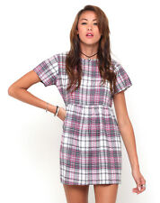 MOTEL ROCKS Penny Babydoll Dress in Pink Tartan (mr22)