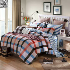 New Checks Single Queen King Size Bed 100%Cotton Quilt Duvet Doona Cover Set