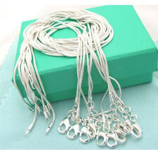"Free Shipping snake 925silver 10pcs 1mm snake chains 16""-24"" necklace NJ028"