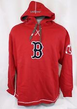 NEW Mens MAJESTIC Boston RED SOX MLB Red Large Logo Baseball Hoodie Pullover