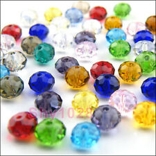 6mm,8mm Rondelle Faceted Glass Crystal Spacer Beads 22Color-1 Or Mixed R5014