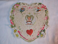 Vintage Paper Lace heart Shaped Valentine w/ Cupid & Girl Fishing Card  T*