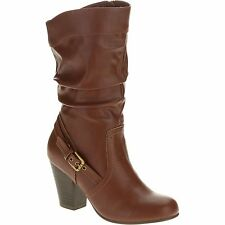 New Faded Glory Women's Slouch High Heel Boot Size 6.5 BROWN Free Shipping