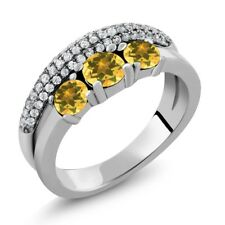 1.68 Ct Round Yellow Citrine 925 Sterling Silver Ring
