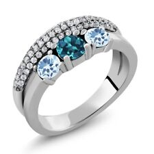 1.87 Ct Round London Blue Topaz Sky Blue Topaz 925 Sterling Silver Ring