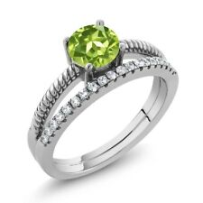 1.04 Ct Round Green Peridot 925 Sterling Silver Ring
