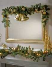 1.8m Pre Lit Gold Christmas Garland Swag w Berries Mixed Ivy Foliage Baubles 6ft