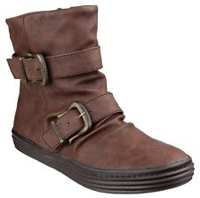 NEW  COFFEE Ladies Ankle Boots Octave  Texas double buckle boot  PU Zip Blowfish