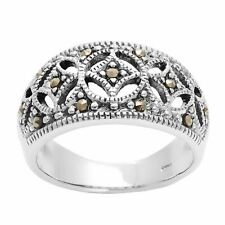 Silverly .925 Sterling Silver Marcasite Oxidised Art Deco Style Ring