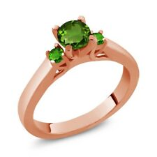 0.64 Ct Chrome Diopside and Simulated Tsavorite 925 Rose Gold Plated Silver Ring