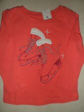 BABY GAP Fairest Isle Pink Let's Skate Glitter Sparkle Ice Skate Top Shirt NWT