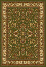Green Ivory Oriental Area Rug Persian Border Floral Leaves Oval Carpet Runner