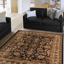 Black Oriental  Area Rug Persian Style Floral Vines Oval Round Carpet Runner