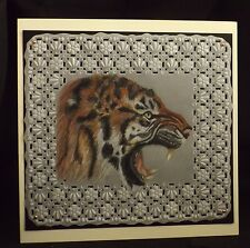 handcrafted parchment craft large card Growling Tiger any occasion, personalised