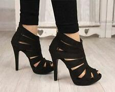 Sexy Womens Platform Pump Stiletto High Heels New Ankle Boots Sandal Shoes Black