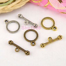 20Sets Tibetan Silver,Gold,Bronze Tiny Round Connector Toggle Clasps M1340