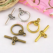 4Sets Tibetan Silver,Antiqued Gold,Bronze Circle Connectors Toggle Clasps M1418