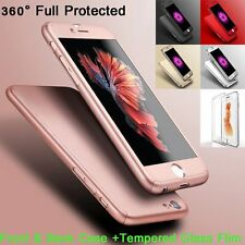 Slim 360° Shockproof Hard Case + Tempered Glass Cover For Apple iPhone 6 6s 6+