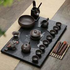 Chinese luxury black stone table tea tray porcelain kung fu tea set yixing zisha