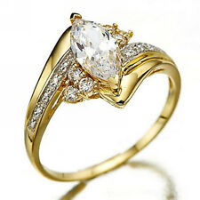 Dazzling Women's Ring White Sapphire18K Gold Filled Wedding Ring Gift Size 6-10