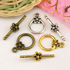 6Sets Tibetan Silver,Gold,Bronze Flower Circle Connectors Toggle Clasps M1383