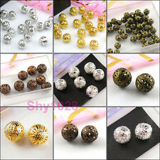 Filigree Round Spacer Beads 4mm,6mm,8mm,10mm,12mm-16mm Gold,Silver,Bronze R5090