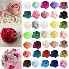 DIY 10pcs 25mm Satin Ribbon Rose Flower Craft Wedding Appliques Hot Sell