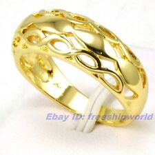 Size 5,6,7,8,9 Ring UK J,L,N,P,R REAL EMPAISTIC 18K YELLOW GOLD GP SOLID FILL