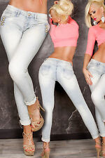 Sexy Women's Skinny Military Look Jeans Ladies Washed Creased Denim Size 8, 14