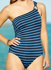 New Michael Kors Blue/Black Striped One Shoulder One-Piece Swimsuit Size 8 & 10